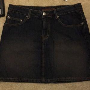 Knee length dark denim skirt